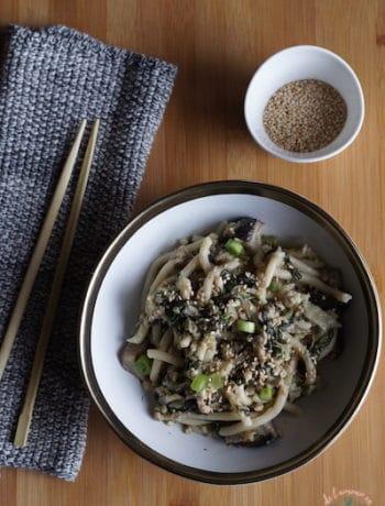 Nouilles Udon aux légumes et porc haché