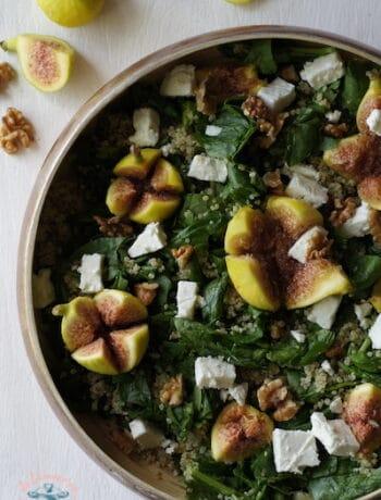 Salade de quinoa, figues, épinard feta et noix