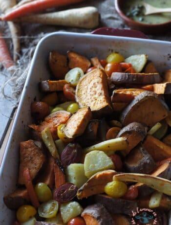 Légumes rôtis au four & sauce aux câpres